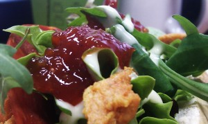 A beautiful close-up of the Salad Cream and Branston relish living in harmony together
